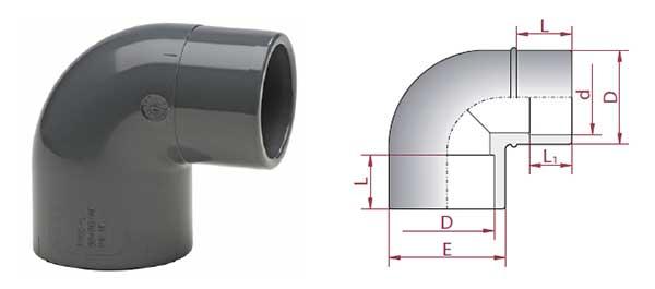 PVC-Reduzierwinkel 90°, Muffe/Keil