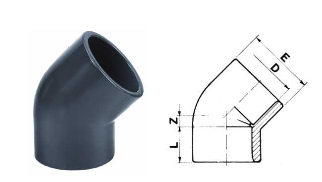 PVC-Winkel 45 Grad mit doppelter Klebemuffe