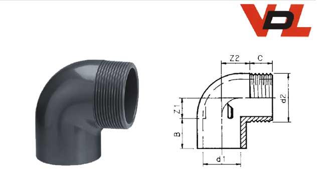 PVC-Winkel 90° mit Klebemuffe x Außengewinde