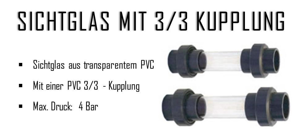 PVC Sichtglas,Kontrollglas transparent mit 3//3-Kupplung 50mm bis 63mm