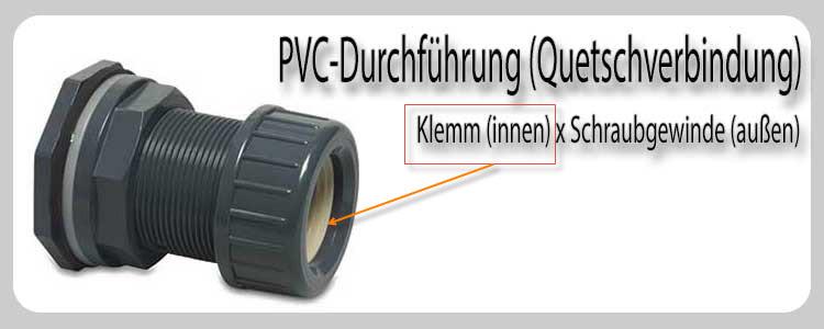 """PVC Durchführung mit Klemmverbindung  Für 32mm Rohr  Gewinde 1 1//4/"""""""